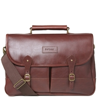 Barbour Leather Briefcase Dark Brown