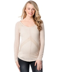 Wendy Bellissimo Maternity Lace Trim Knit Pullover Natural