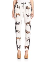 Stella Mccartney Dog Print Silk Track Pants Optical White