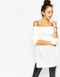 Daisy Street Chunky Off The Shoulder Roll Neck Jumper Cream