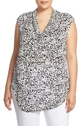 Halogenr Plus Size Women's Halogen Drape Neck Sleeveless Top Black Ivory Vertigo Print