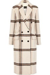 By Malene Birger Gritt Double Breasted Checked Brushed Felt Coat Cream