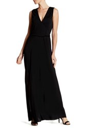 Haute Hippie Surplice Neck Split Leg Maxi Dress Black