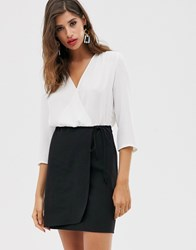 Mango V Neck Tie Waist Dress In Monochrome Black