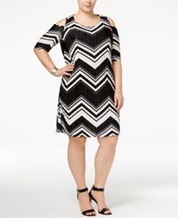 Ny Collection Plus Size Striped Cold Shoulder Bodycon Dress Noir Static