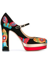 Valentino Butterfly Appliqued Mary Jane Pumps Black