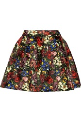 Alice Olivia Fizer Floral Print Satin Mini Skirt Black