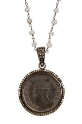 Diamond And Antique Coin Necklace White