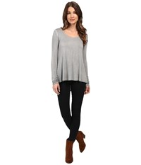 Kut From The Kloth Journey Long Sleeve Top Grey Women's Long Sleeve Pullover Gray