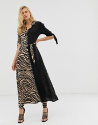 Zibi London Tiger Print Maxi Shirt Dress Multi
