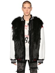Faith Connexion Faux Fur And Leather Bomber Jacket