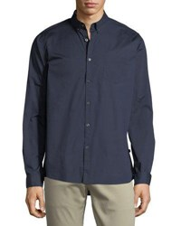 Civil Society Stretch Woven Button Down Shirt Navy
