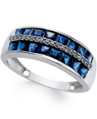 Macy's Sapphire 2 Ct. T.W. And Diamond Accent Band In 14K White Gold Blue