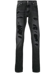 Alexander Mcqueen Distressed Straight Cut Jeans Black