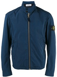 Stone Island Banded Collar Cropped Jacket Blue