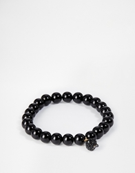 Noose And Monkey Black Beaded Bracelet With Crystal Skull