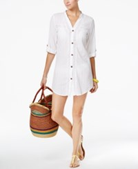 Dotti Sunny Stripe Crochet Inset Cover Up Shirt Women's Swimsuit White