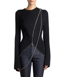 Givenchy Ribbed Zip Trim Sweater Black