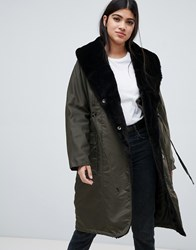 Y.A.S Draw String Hooded Parka Jacket Forest Night Green