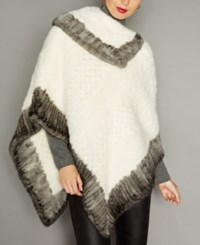 The Fur Vault Colorblocked Knitted Mink Poncho White Silver Blue