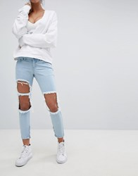 Liquor N Poker Skinny Jeans With Extreme Distressing Ripped Knees Blue