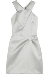 Roland Mouret Lumley Satin Mini Dress Silver