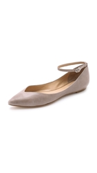Belle By Sigerson Morrison Sable Ankle Strap Flats Grey