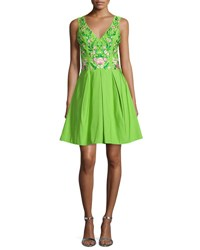 Marchesa Sleeveless Floral Embroidered Party Dress Lime Green