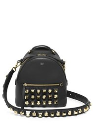 Fendi Studded Leather Crossbody Backpack Black