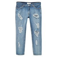 Mango Relaxed Cropped Nancy Jeans Open Blue