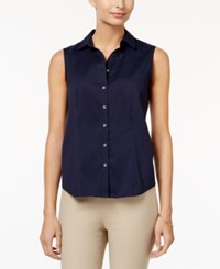 Charter Club Sleeveless Shirt Only At Macy's Intrepid Blue