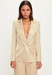 Missguided Nude Long Sleeve Double Breasted Blazer Champagne