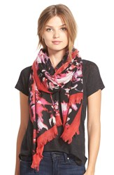 Badgley Mischka 'Exploded Lily' Merino Wool Scarf Pink Multi