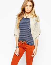 Pepe Jeans Relaxed Cable Knit Cardigan Cream