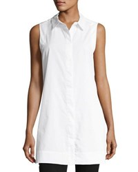 Chelsea And Theodore Sleeveless Poplin Blouse White