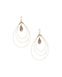 Rafia 3 Hoop Teardrop Earrings W Labradorite Center Golden