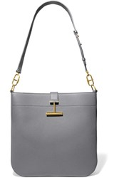 Tom Ford T Clasp Textured Leather Shoulder Bag Dark Gray