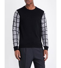 Wooyoungmi Contrast Sleeve Knitted Jumper Black