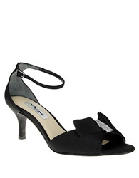 Nina Cyprian Crystal High Heel Sandals Black Satin