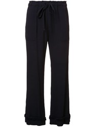 Raquel Allegra Frill Detail Cropped Trousers Blue