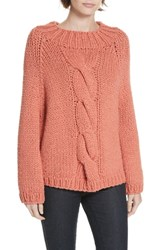 Brochu Walker Gia Hand Knit Wool Cashmere Blend Sweater Persimmon