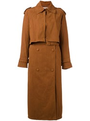 Stella Mccartney Belted Chest Flap Trench Coat Women Polyamide 36 Brown