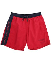 Hackett Red Navy Two Tone Aston Martin Logo Swim Shorts With Aston Martin On Back Pockets