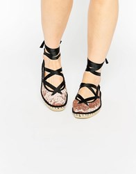 Asos Justice Lace Up Ballet Espadrilles Taupe Velvet Stone