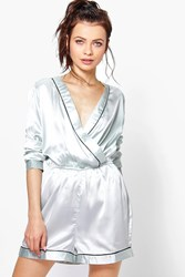 Boohoo Long Sleeve Satin Teddy With Contrast Piping Silver