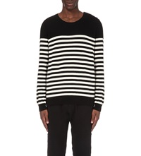 The Kooples Striped Cotton Jumper Black Off White