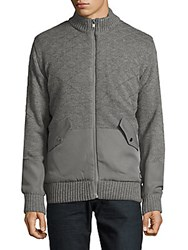 American Stitch Front Zippered Jacket Grey