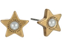 Marc Jacobs Flat Pearl Star Studs Earrings Cream Antique Gold Earring