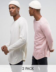 Asos Longline Long Sleeve T Shirt With Curve Hem And Zip 2 Pack Pink Multi