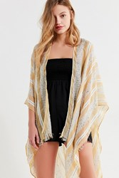 Urban Outfitters Textured Striped Ruana Yellow